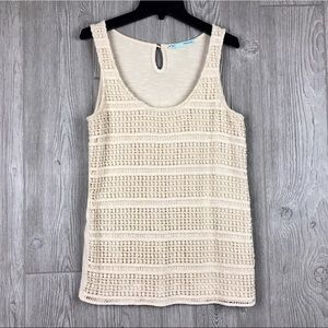 Maurices Cream Crochet Overlay Tank Top